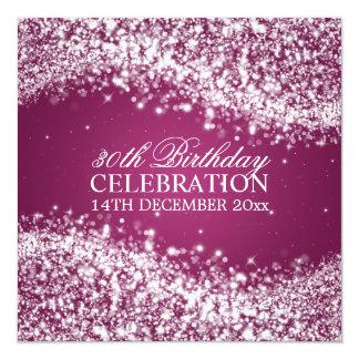 Elegant 30th Birthday Party Sparkling Wave Pink 13 Cm X 13 Cm Square Invitation Card
