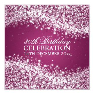Elegant 30th Birthday Party Sparkling Wave Pink 13 Cm X 13 Cm Square Invitation Card