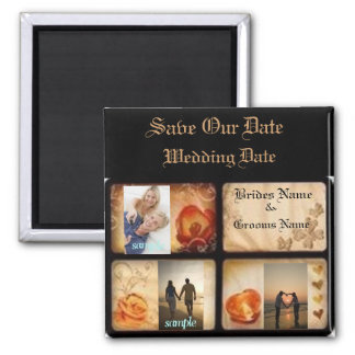 Elegant 3 photo save the date wedding magnet