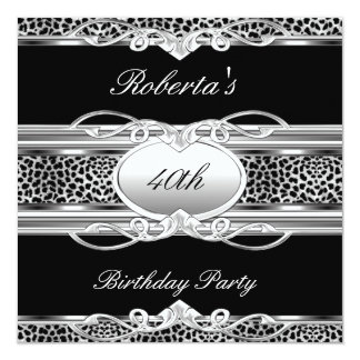 Elegant 40th 50th Birthday Party Leopard Black Invite