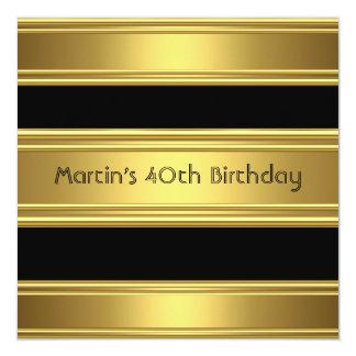 Elegant 40th Birthday Party Black Gold Mans 13 Cm X 13 Cm Square Invitation Card