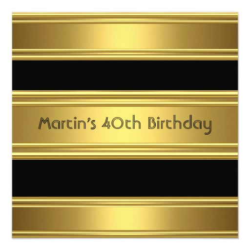 Elegant 40th Birthday Party Black Gold Mans Announcements