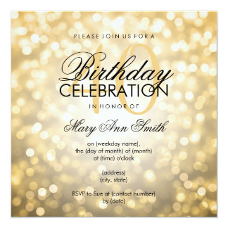 Elegant 40th Birthday Party Gold Glitter Lights 13 Cm X 13 Cm Square Invitation Card