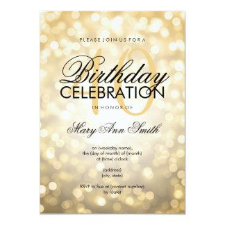 Elegant 40th Birthday Party Gold Glitter Lights 13 Cm X 18 Cm Invitation Card