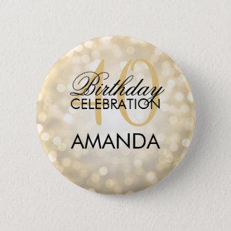 Elegant 40th Birthday Party Gold Glitter Lights 6 Cm Round Badge