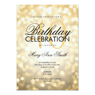 Elegant 40th Birthday Party Gold Glitter Lights 4.5x6.25 Paper Invitation Card