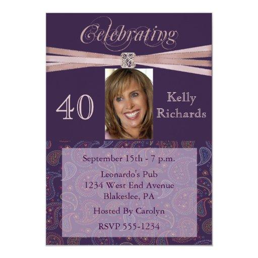 Elegant 40th Birthday Party  Photo Invitations 13 Cm X 18 Cm Invitation Card