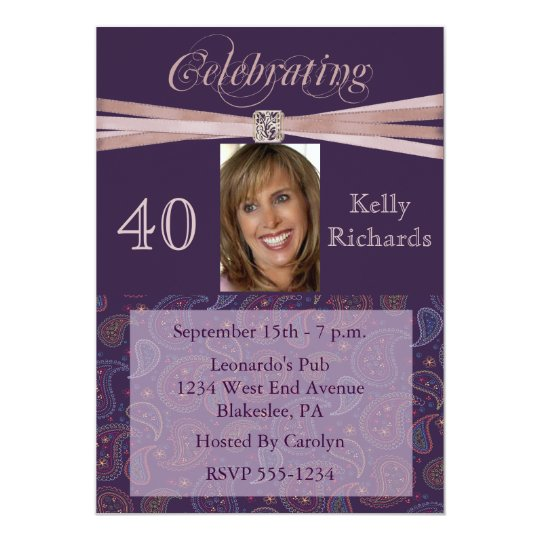 Elegant 40th Birthday Party  Photo Invitations