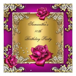 Elegant 40th Birthday Party Pink Rose Gold 13 Cm X 13 Cm Square Invitation Card