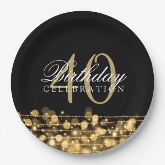 Elegant 40th Birthday Party Sparkles Gold Paper Plate