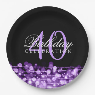 Elegant 40th Birthday Party Sparkles Purple Paper Plate