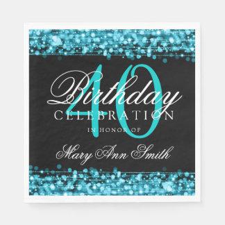 Elegant 40th Birthday Party Sparkles Turquoise Disposable Napkin