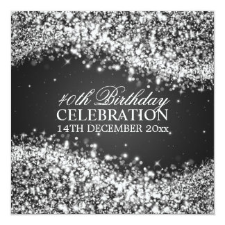 Elegant 40th Birthday Party Sparkling Wave Black Card