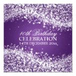 Elegant 40th Birthday Party Sparkling Wave Purple 13 Cm X 13 Cm Square Invitation Card