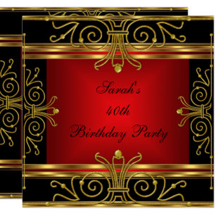 Elegant 40th Birthday Red Black Gold Art Deco 2 Invitation
