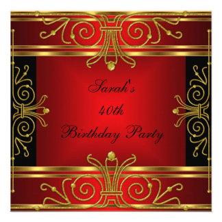 Elegant 40th Birthday Red Black Gold Art Deco Announcement