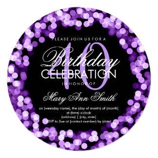 Elegant 40th Birthday Sparkling Lights Purple 13 Cm X 13 Cm Square Invitation Card