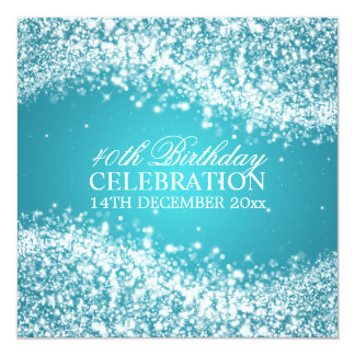 Elegant 40th Birthday Sparkling Wave Turquoise Announcement