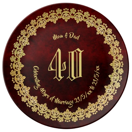 Elegant 40th RUBY Wedding Anniversary Parents Gold Plate