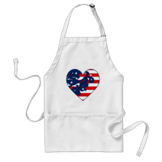 Elegant 4th of July damask red, white, and blue Aprons