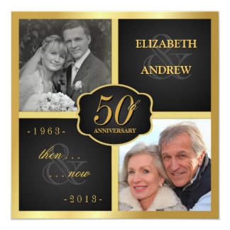 Elegant 50th Anniversary Party Vow Renewal 13 Cm X 13 Cm Square Invitation Card