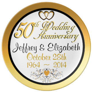 Elegant 50th Anniversary Porcelain Plate