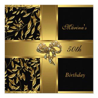 Elegant 50th Birthday Black Gold Floral Bow 2 Card
