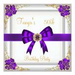 Elegant 50th Birthday Floral Purple White Gold 2 Custom Invitation