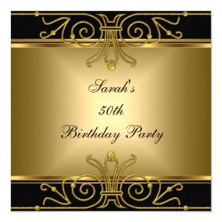 Elegant 50th Birthday Gold Black Art Deco 13 Cm X 13 Cm Square Invitation Card