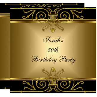 Elegant 50th Birthday Gold Black Art Deco Card
