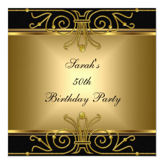 Elegant 50th Birthday Gold Black Art Deco Card