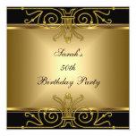 Elegant 50th Birthday Gold Black Art Deco Custom Invites