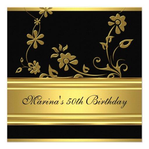 Elegant 50th Birthday Party Black Gold Floral 2 Invitation