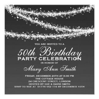 Elegant 50th Birthday Party Black String Lights Invite