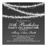 Elegant 50th Birthday Party Black String Lights Personalised Invitation