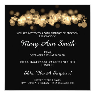 Elegant 50th Birthday Party Gold Bokeh Lights Card