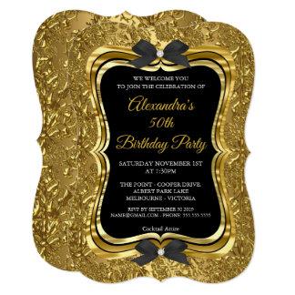 Elegant 50th Birthday Party Gold Golden Black 2 Card