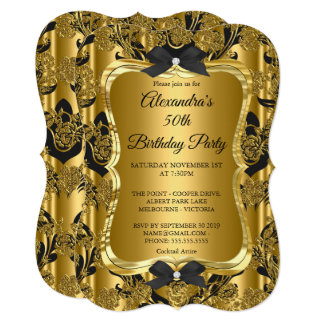 Elegant 50th Birthday Party Gold Golden Black 3 Card