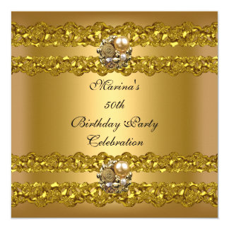 Elegant 50th Birthday Party Gold Pearl Jewel Card