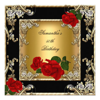 Elegant 50th Birthday Party Gold Red Rose Black Announcements