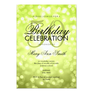 Elegant 50th Birthday Party Green Glitter Lights 13 Cm X 18 Cm Invitation Card