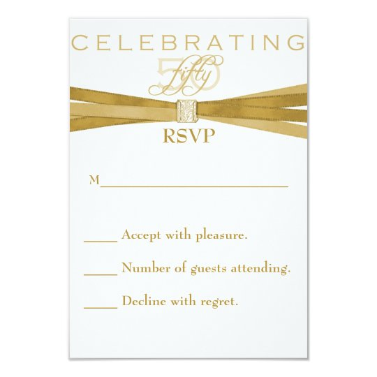Elegant 50th Birthday Party Invitations RSVP Card