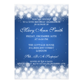 Elegant 50th Birthday Party Magic Sparkle Blue Announcement