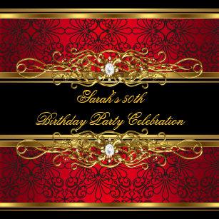 Elegant 50th Birthday Party Red Black Gold Damask Invitation