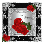 Elegant 50th Birthday Party Red Rose Silver Personalised Announcement