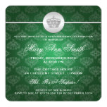Elegant 50th Birthday Party Royal Crown Green Custom Invitation