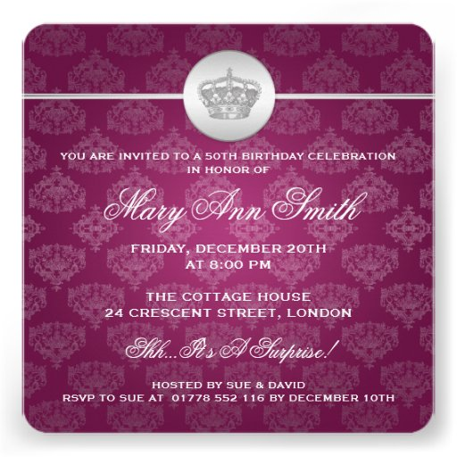 Elegant 50th Birthday Party Royal Crown Pink Personalized Invite