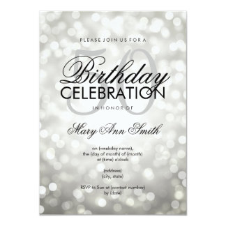 Elegant 50th Birthday Party Silver Glitter Lights 11 Cm X 16 Cm Invitation Card