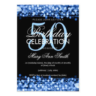 Elegant 50th Birthday Party Sparkles Blue 13 Cm X 18 Cm Invitation Card