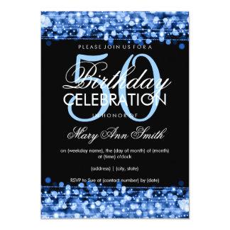 Elegant 50th Birthday Party Sparkles Blue 13 Cm X 18 Cm Invitation Card